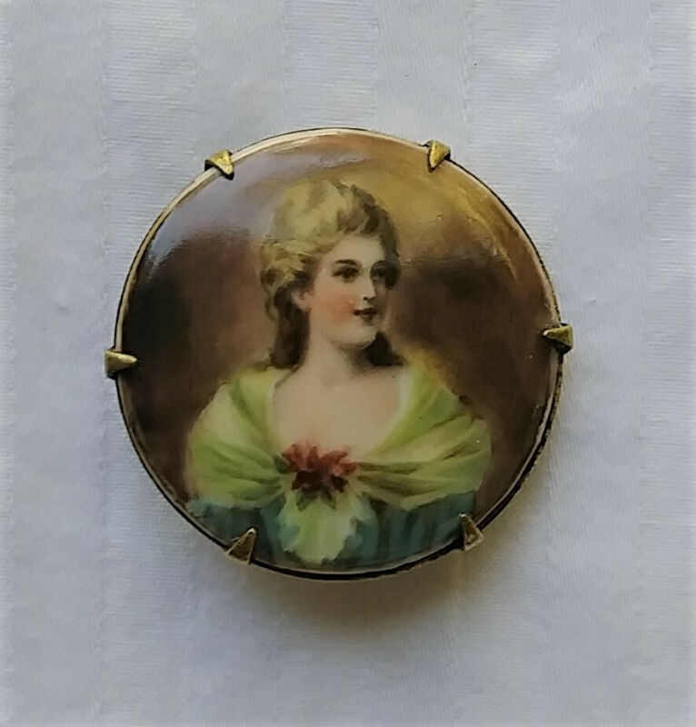 Antique Victorian Hand Painted Porcelain Portrait Cameo Pin Brass backed Brooch