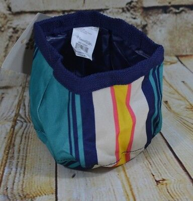 Travel Dog Bowl 6.25 cups Water Repellent Wear Resistant Fabric  Striped