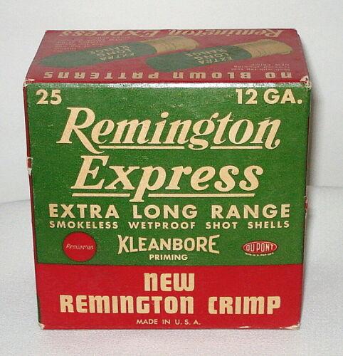 VINTAGE REMINGTON EXPRESS 12 GUAGE EMPTY SHOTGUN SHELL BOX - EXTRA LONG RANGE