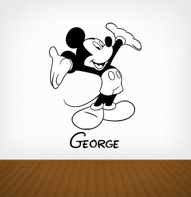 Personalised Mickey Mouse Disney Wall Stickers Vinyl Art Decals DIY