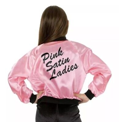 Charades Pink Satin Ladies Jacket Halloween Costume Grease Size Child XS - Grease Pink Ladies Jacket Kids