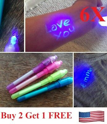 New 6pcs Invisible Ink Spy Pen Built in UV Light Magic Marker Secret - Magic Ink