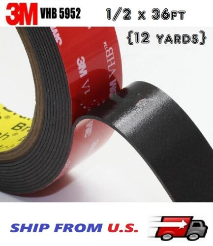"3M VHB Double Sided Foam Adhesive Tape 5952 Automotive Mounting 1/2"" x 36 FT"