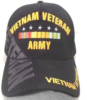 MILITARY CAP ARMY VIETNAM VETERAN  WITH SHADOW  BLACK HAT