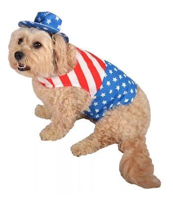 NWT Patriotic Dog Pet Costume Red Blue Shirt Hat Star Stripes July 4th XS S M (Red Hat Blue Shirt Kostüm)