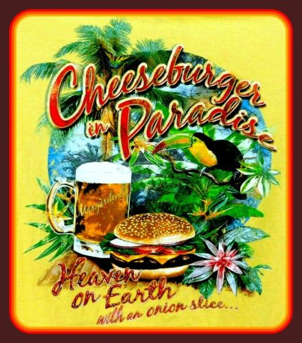 "4"" Jimmy Buffett Cheeseburger in Paradise vinyl sticker. Country music decal."