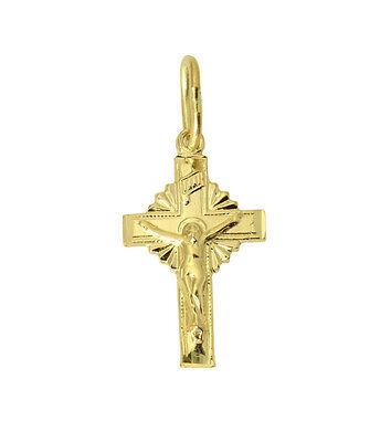 (14K Yellow Gold Small Light Jesus Cross Crucifix Dia Cut Pendant Baby & Children)