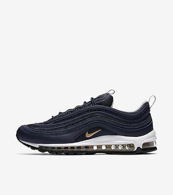 Nike Air Max 97 OG Midnight Navy Metallic Gold Silver 921826-400 Size 12