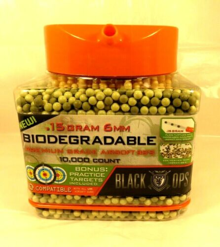 Biodegradable Triple Polished .15g 6mm Airsoft BBs 10,000 count Black Ops