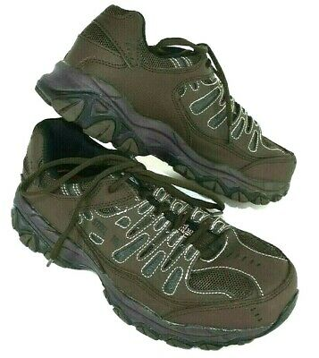 Skechers Safety Steel Toe Shoes Mens Us 7 Euc Relaxed Fit Memory Foam Brown