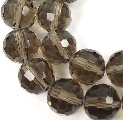 """10mm Faceted Smoky Glasss Quartz Round Beads 12"""""""