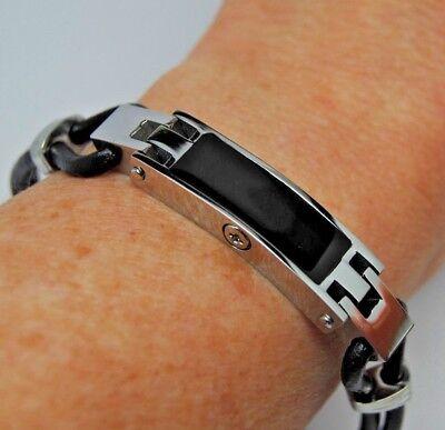 """Women's Cremation Urn Bracelet, 7.5"""" Black Leather Strap, Engravable Urn"""