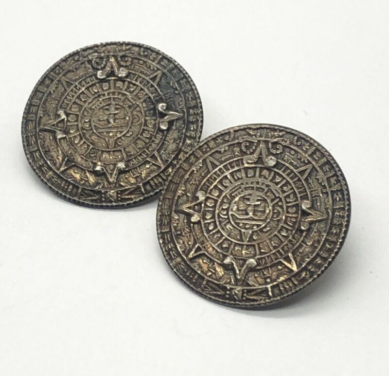Vintage Sterling Silver Earrings 925 Mexico Clip On Mayan Calendar