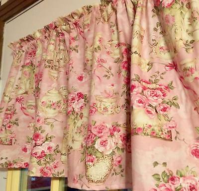 "Shabby Chic Valance Comminute Pink 42""W 15""L  Curtain Valance Cotton Shabby Chic"