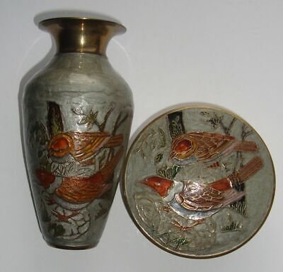 CLOISONNE VASE and LIDDED BOWL