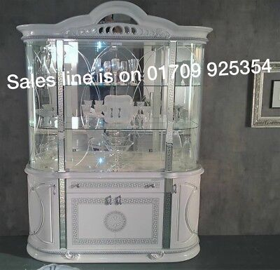 VERSACE DESIGN WHITE & SILVER ITALIAN HIGH GLOSS 4 DOOR VITRINE/DISPLAY UNIT