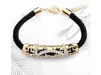 New black rope bracelet rhinestones