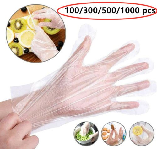 100-1000PCS Disposable Plastic Clear Gloves Food Prep Cleaning Home Healty US Gloves & Pads