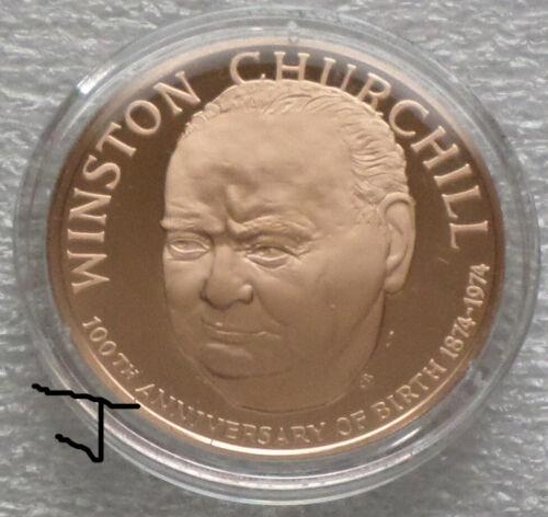 Sir Winston Churchill Heraldic Arms Vintage Bronze Proof Medal