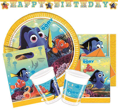 FINDING DORY Birthday Party Range - Tableware Supplies & Decorations(Nemo/Pixar)