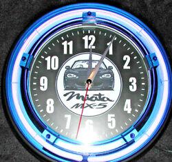 MAZDA MIATA MX-5 NEON #2 LOGO BLUE NEON CLOCK - NEW!