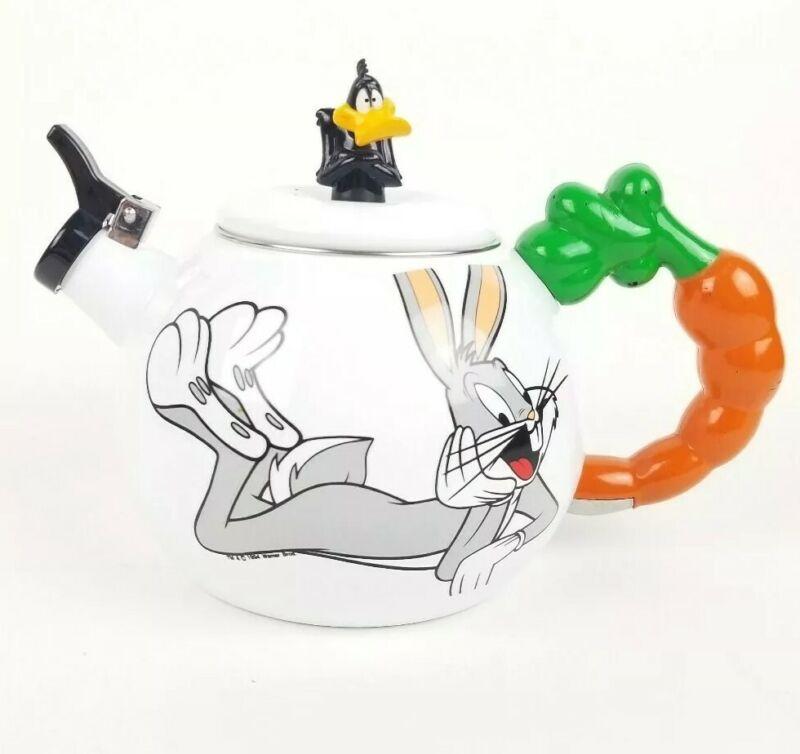 Vtg 1994 Enamel Bugs Bunny Daffy Duck Looney Tunes Carrot Tea Kettle, Never Used