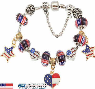 USA American Flag July 4th Red White Blue Charm Glass Bead Bracelet...
