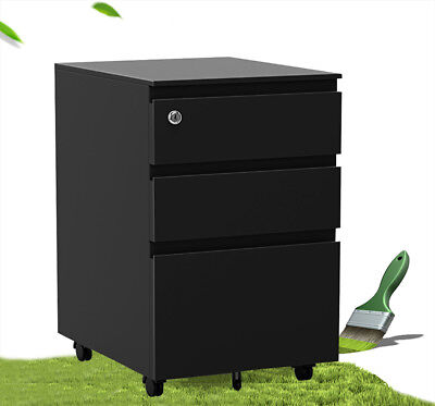 3 Drawer Filing Cabinet Rolling Metal File Organizer With Lock Home Office