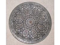 Vintage decorative Hand Hammered Metal Plate containing Copper