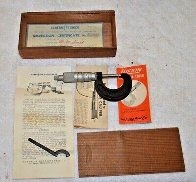 Vintage Lufkin Micrometer W Wood Box