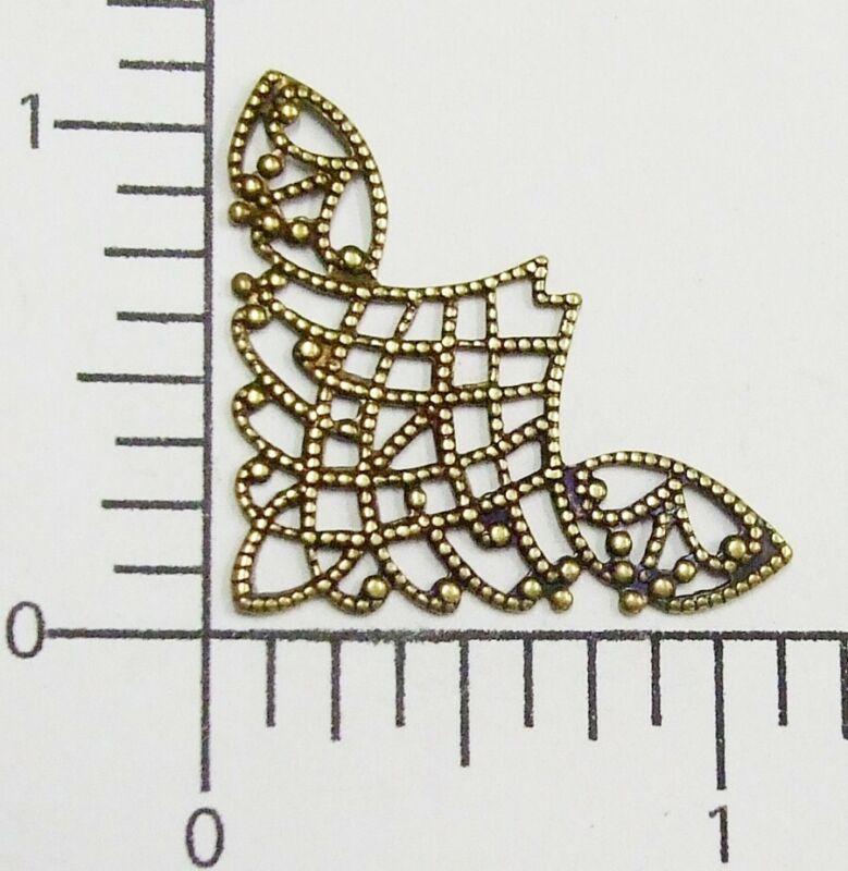 23473         2 Pc -  Brass Oxidized Filigree Corner Brass Jewelry Finding