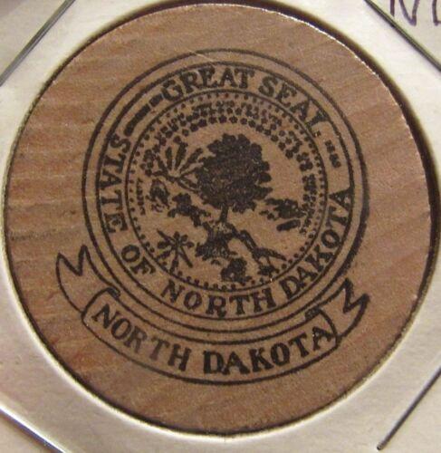 Vintage Great Seal of the State of North Dakota Wooden Nickel - Token ND