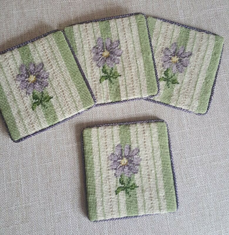 Handmade Needlepoint Coasters Set Of 4 Floral Design