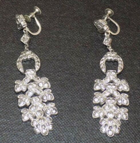 Vintage Art Deco Rhinestone Chandelier Statement Dangle Screw Back Earrings
