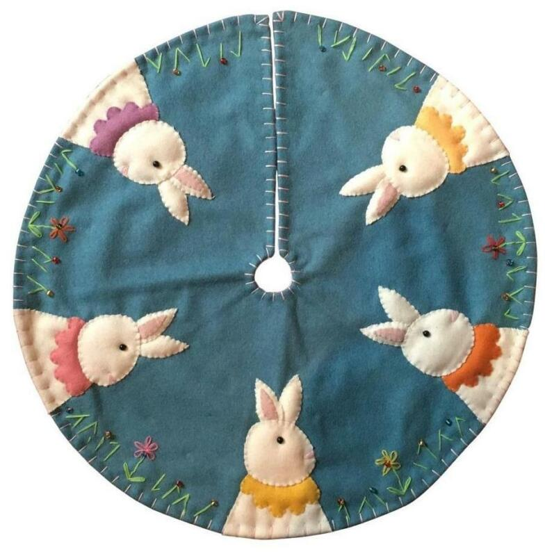 New World Arts Easter Bunnies on Blue Background Tree Skirt