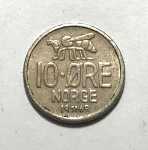 Norway 10 ore, Honey Bee, insect animal wildlife coin