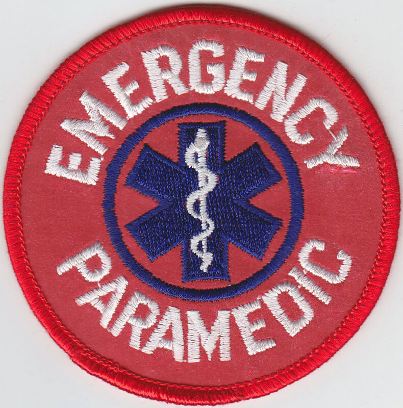 """EMERGENCY PARAMEDIC 3"""" Round patch REFLECTIVE Red/Star of Life"""