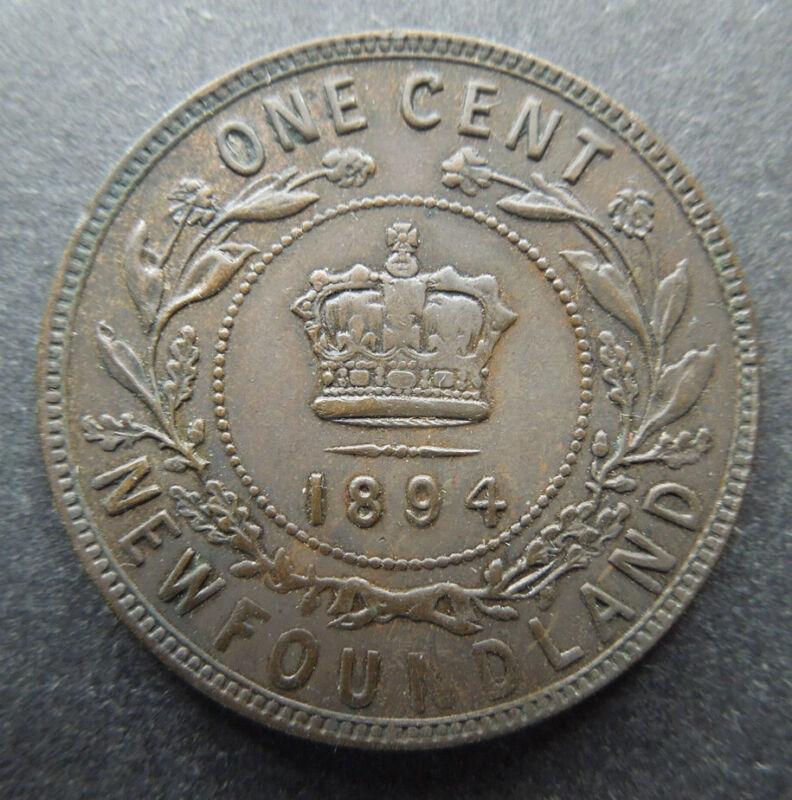 Newfoundland Canada 1894 Queen Victoria Large Cent KM#1 Bronze Coin