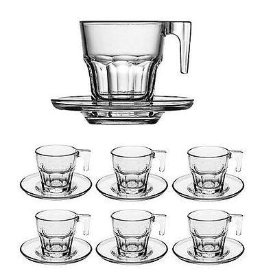 Imperdibile tazze tazzine in vetro da caffè servizio con piattino 6 pezzi moka