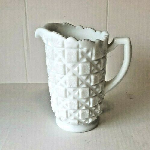 "Westmoreland Old Quilt Pitcher/Vase Milk Glass~8"" Heavy almost 4 lbs Vintage"