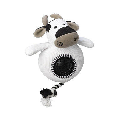 House of Paws Cord Cow Dog Toy with Spiky Ball | Squeaky Plush Rubber Rope 2in1