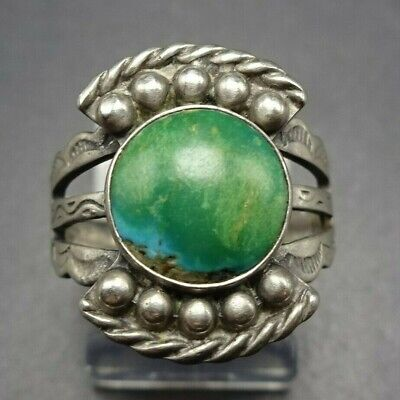 1940s Jewelry Styles and History OLD 1940s Vintage HARVEY ERA NAVAJO Sterling Silver and TURQUOISE RING size 7 $148.50 AT vintagedancer.com