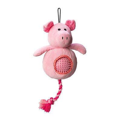 House of Paws Cord Pig Dog Toy Spiky Ball | Squeaky Plush Soft Rubber Rope 2in1