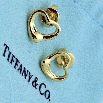 Tiffany & Co. Elsa Peretti 18K Yellow Gold Open Heart Stud Earrings in Pouch Box