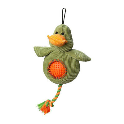 House of Paws Cord Duck Dog Toy Spiky Ball | Squeaky Plush Soft Rubber Rope 2in1