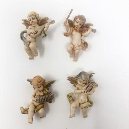 "Vintage Fontanini Depose Italy Cherubs Angels Christmas Ornaments Set of 4 2.5"""