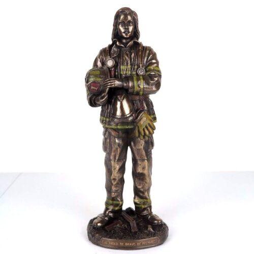 "Female Firefighter Standing Bronze Figurine Miniature Statue 11.5""H New"