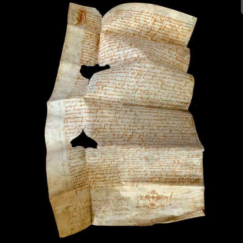 RARE 1521 Medieval Vellum Authentic Manuscript W/ Cross Renaissance Era Document
