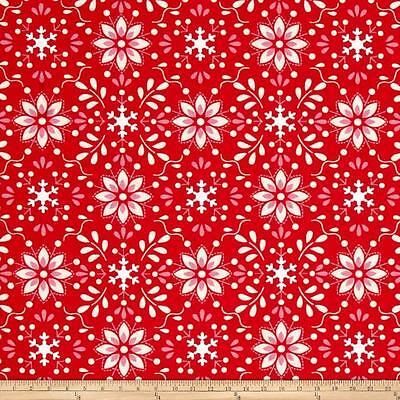 By 1/2 Yard ~ Free Spirit Christmas Fabric ~ Merry Mistletoe Annaya in Red