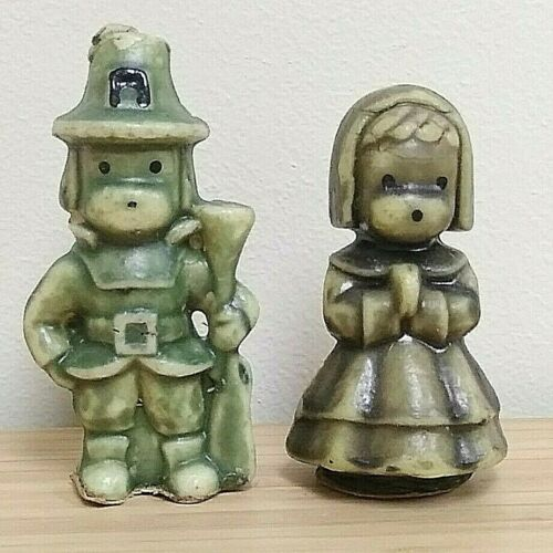 Pilgrim Boy and Girl Gurley Candles Dark Green